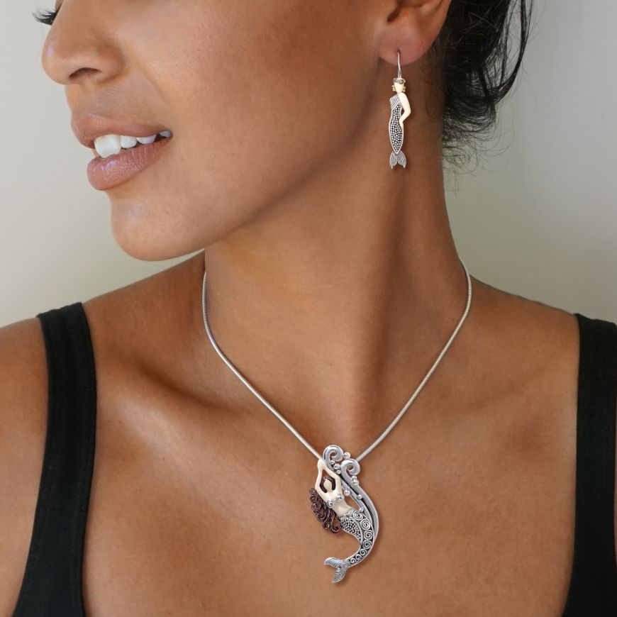 Mammoth Tusk Ivory Silver Mermaid Pendant, Handmade Silver - Mermaid in  Spray