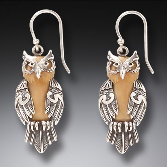Ancient Mammoth Ivory And Silver Owl Earrings Wise One