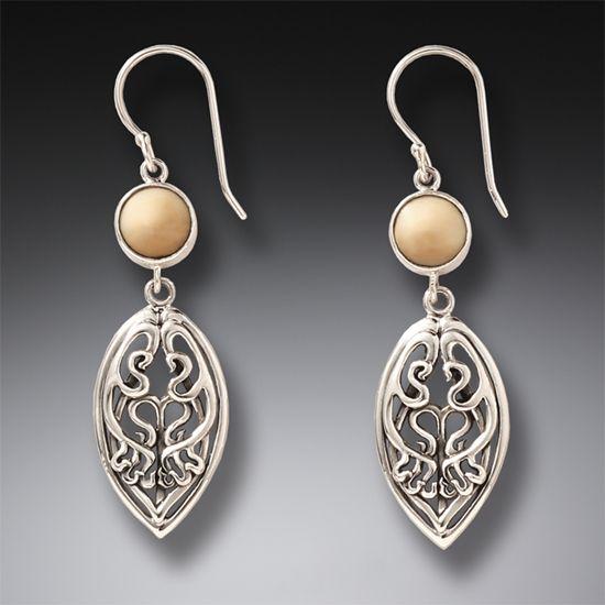 Silver and Ancient Mammoth Ivory Art Nouveau Earrings – Nouveau Drop