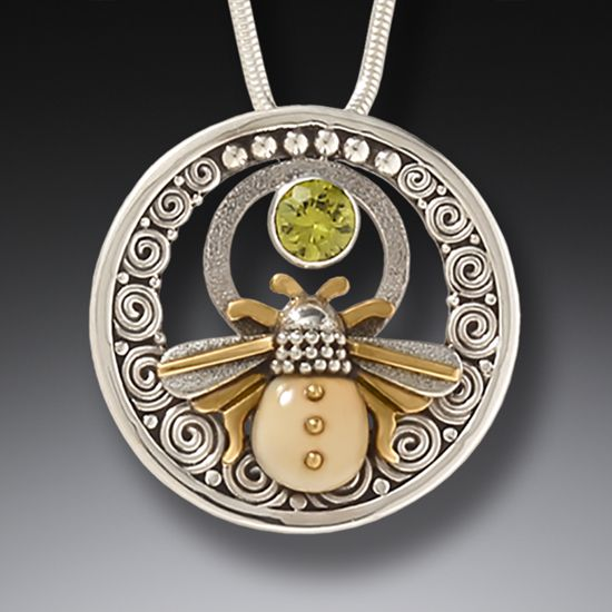 Mammoth Ivory Jewelry Bee Pendant Necklace with Peridot and Handmade Silver  - Bee Inspired