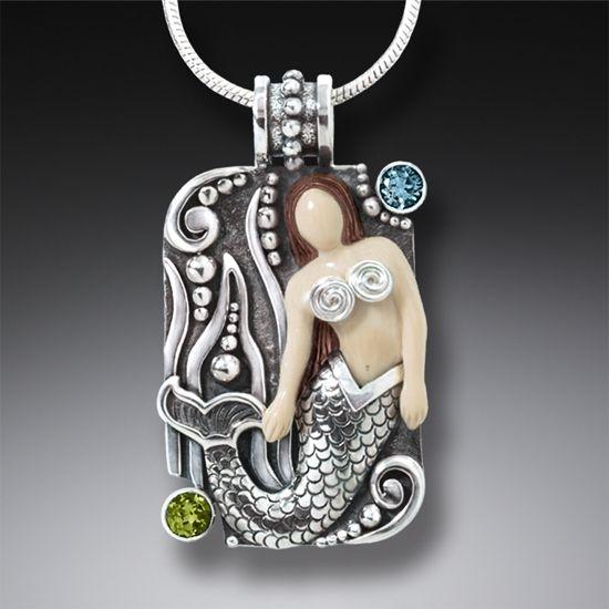Mammoth Tusk Ivory Silver Mermaid Pendant with Blue Topaz, Handmade -  Mermaid Waves