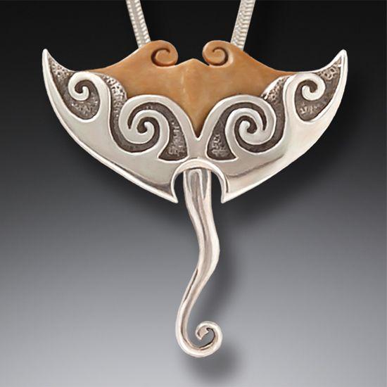 Silver And Mammoth Ivory Manta Ray Pendant Manta Ray