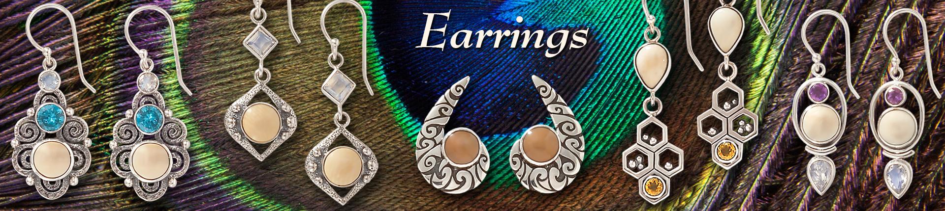 Zealandia fossilized ivory earrings
