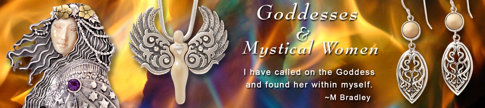 sterling silver goddess jewelry, goddess necklace