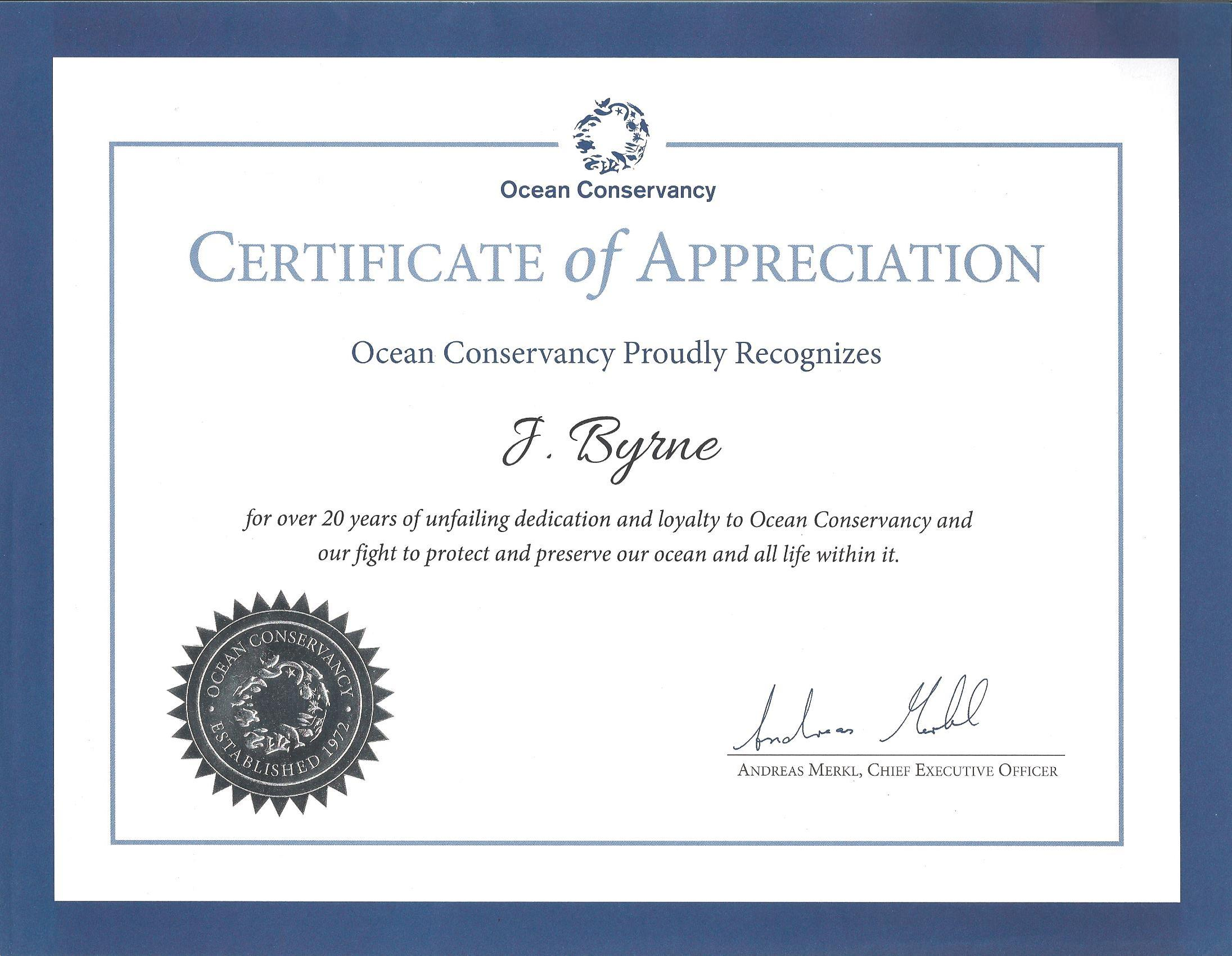 Zealandia Designs, Ocean Conservancy appreciation certificate