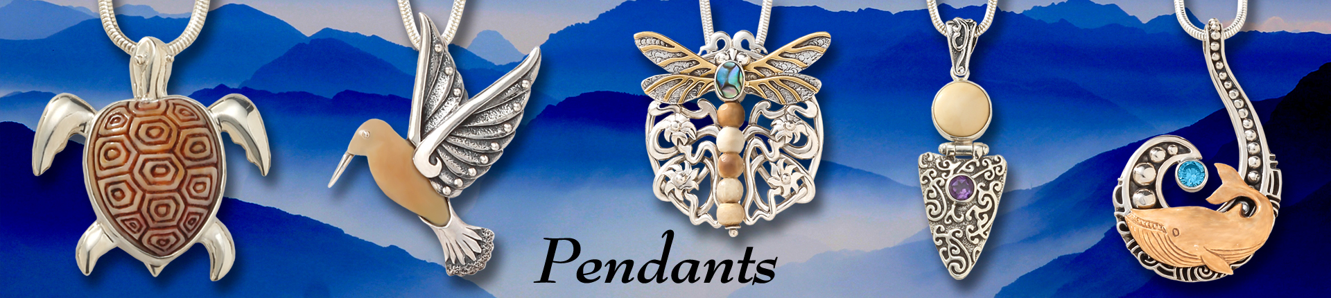 Zealandia sterling silver pendants, fossilized ivory jewelry