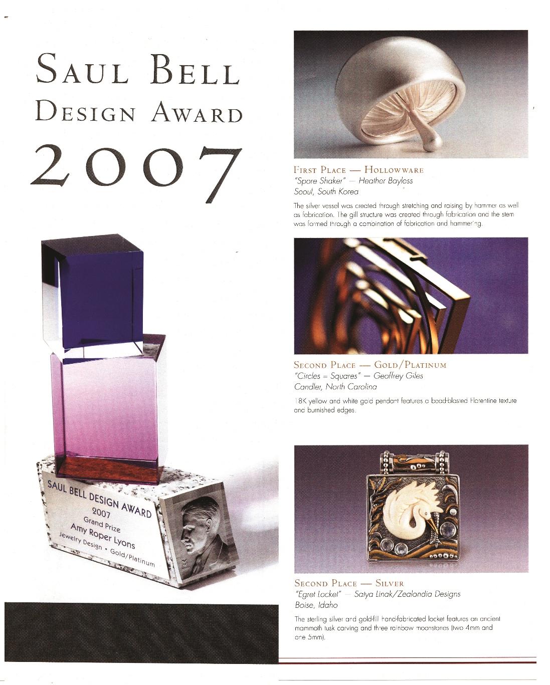 Zealandia jewelry Saul Bell Awards