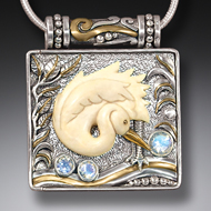 Zealandia Designs bird locket, egret