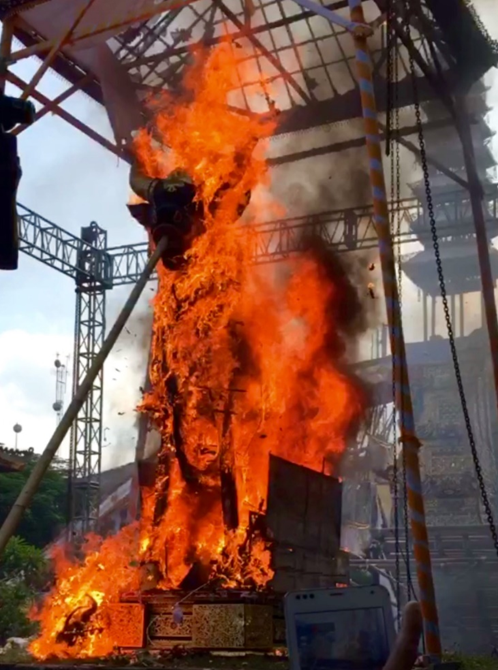 Bali funeral bull burning