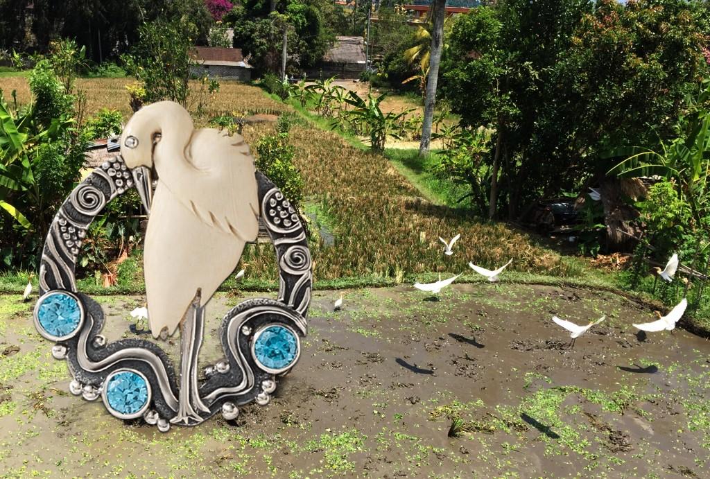 Zealandia egret bird jewelry