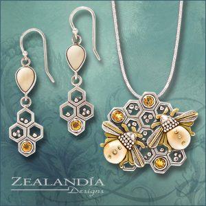 Honeycomb jewelry with citrine