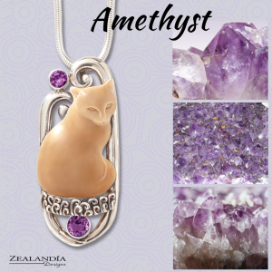 Cat pendant with amethyst stones