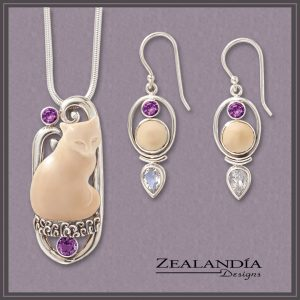 Cat pendant with complementary earrings from the Zealandia Designs amethyst jewelry collection