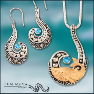 Whale pendant and matching earrings